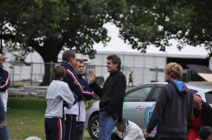 Jacques with Rick Leach in Hagley Park, after the quake